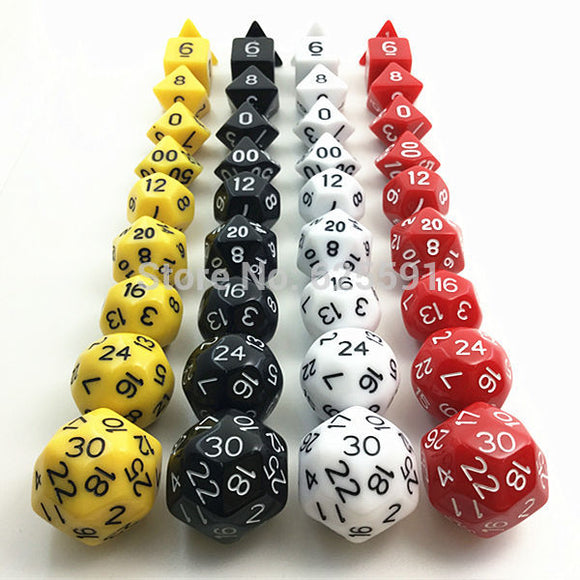 Bag of Ten Opaque Acrylic Polyhedral Dice (Includes D16, D24 & D30)