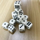Five 16mm White Six Sided Dice with Black Pips