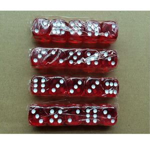 Five 19mm Translucent Red Six Sided Dice with White Pips
