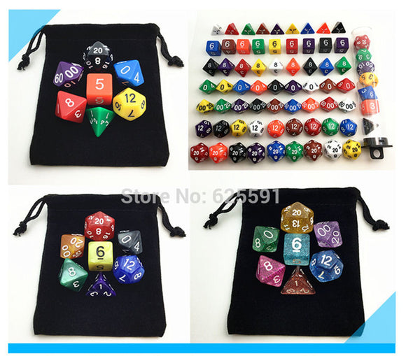 Multi-Coloured Sets of 7 Dice for Classic RPGs in Solid, Marble Texture, or Glitter!
