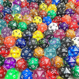 Ten Acrylic Twenty Sided Dice in Various Colours and Textures