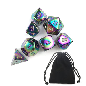 Multi-Coloured Metal Dice in Bag of Classic Seven