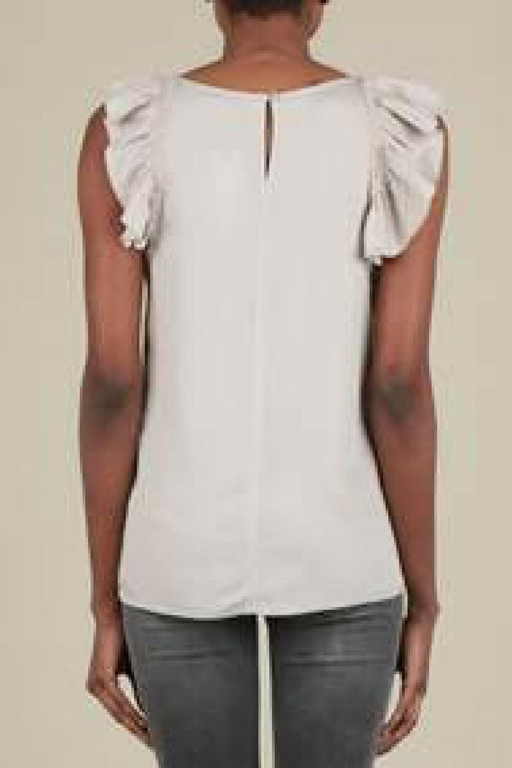 Asymmetrical Ruffle Sleeveless Blouse
