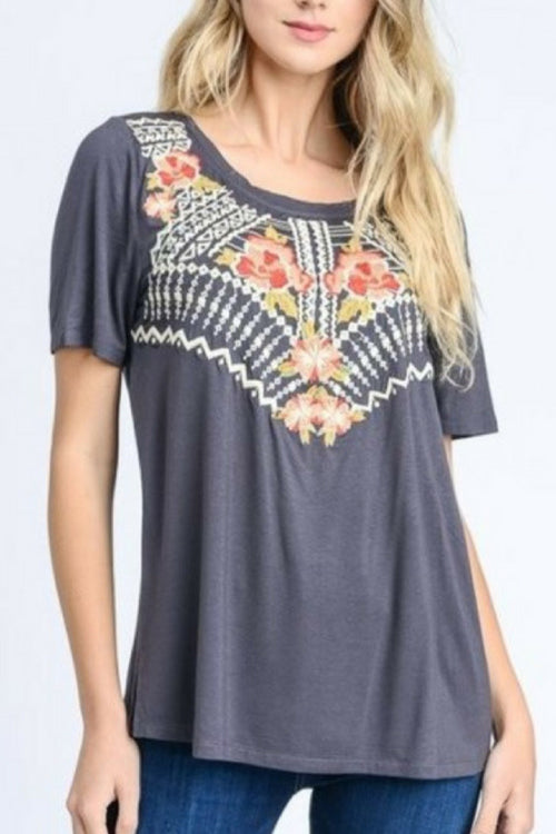 Boho Embroidered Tee