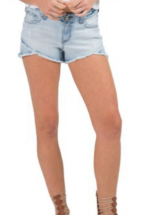 Mid-Rise Destructed Denim Shorts