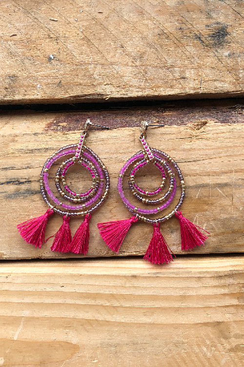 Orbit Tassle Earrings - Fuscia