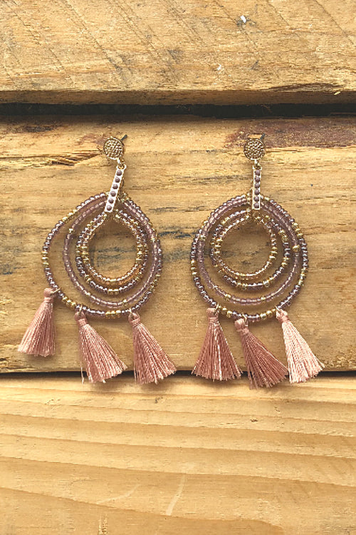 Orbit Tassle Earrings - Champagne