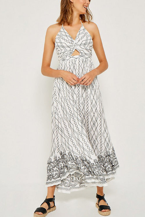 Layla Printed Halter Maxi Dress