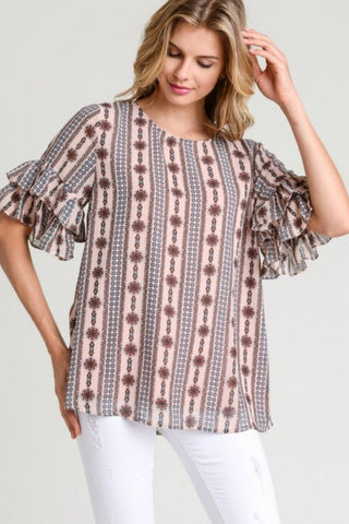Stripe Linen Style Blouse with detail trim