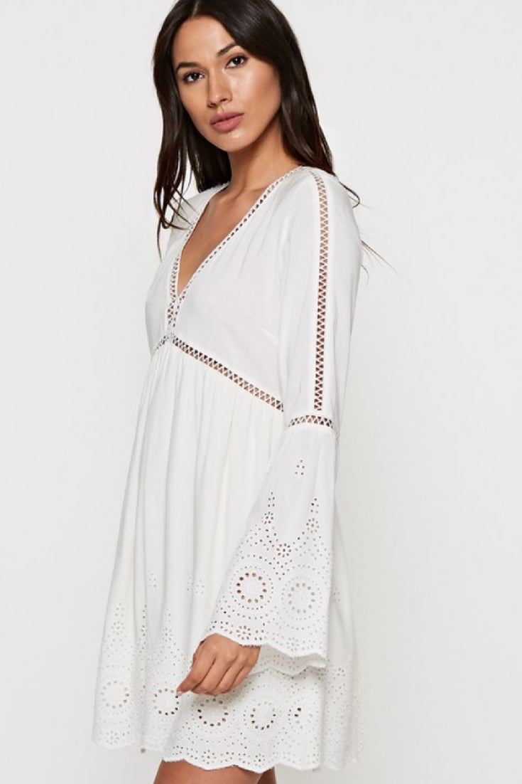 Eyelet Border V-Neck Dress