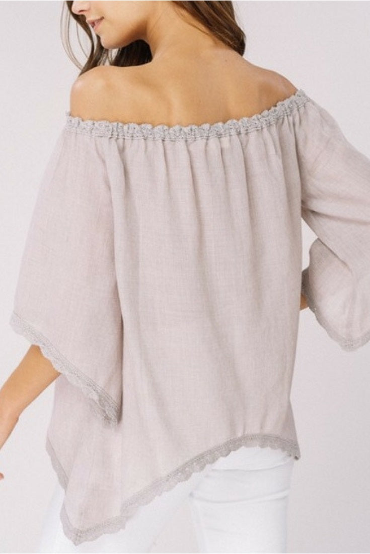 Off The Shoulder Scallop Edge Blouse