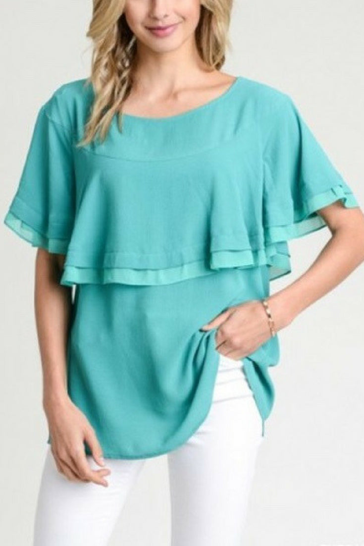 Scoop Neck Ruffle Top