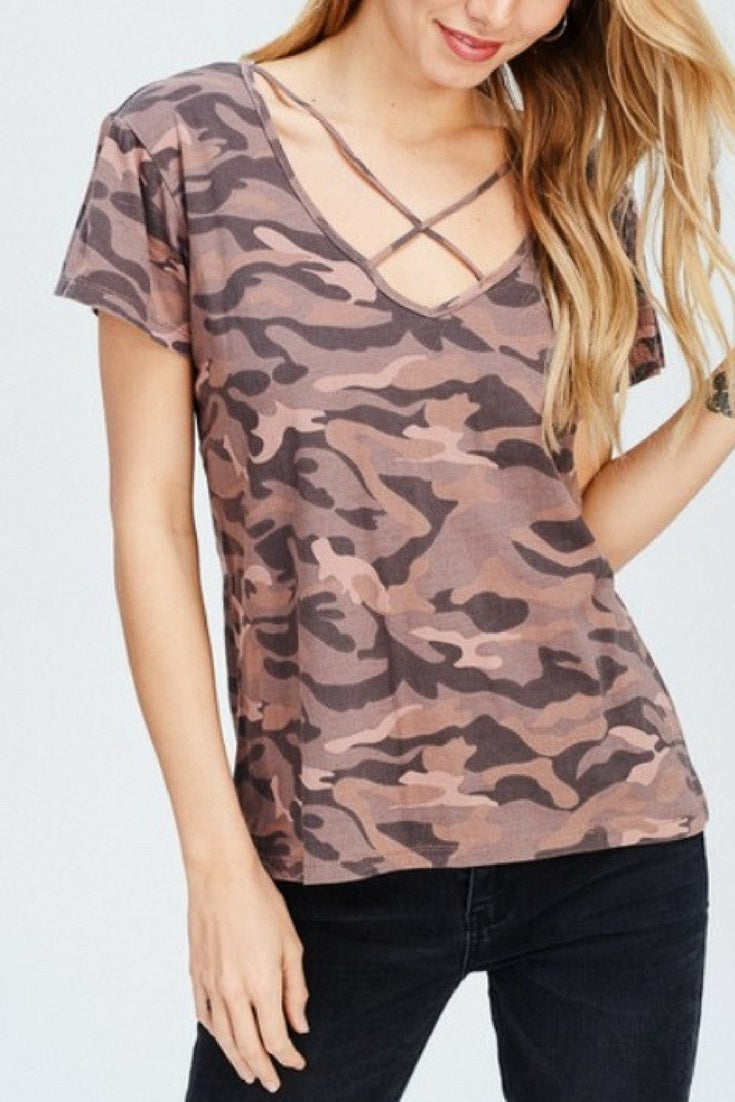 Urban Camo Tee with Criss-cross neckline