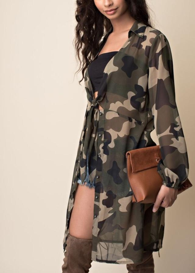 Camo Sheer Shirt Dress