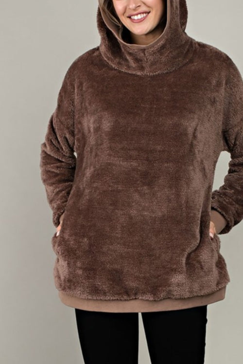 Cozy Hooded Fuzzy Sweatshirt