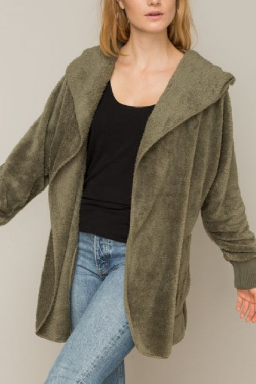 Olive Teddy Bear Cardigan