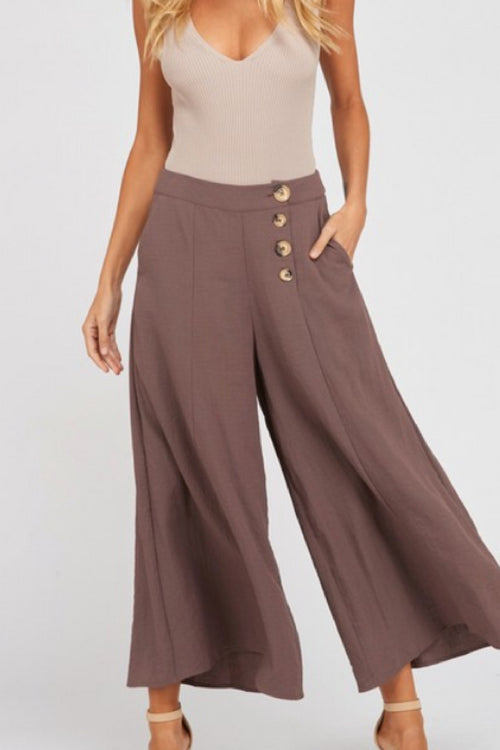 Button Front Gaucho Pants