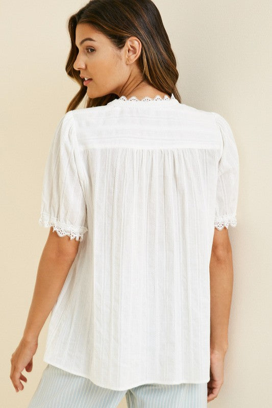 Lace Button-Down Top