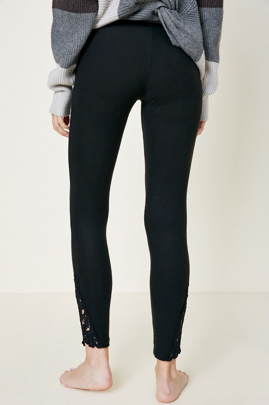 Lace Trim Brushed Leggings