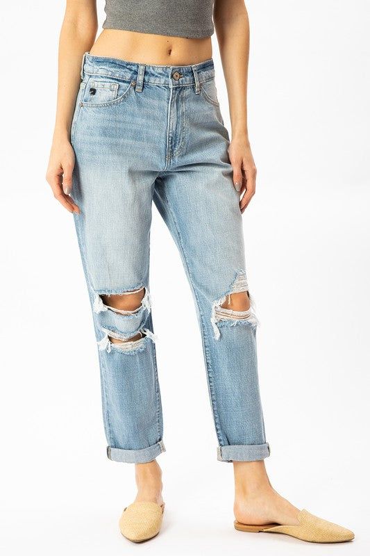 Sonny High Rise Distressed Mom Jeans