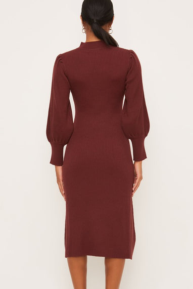 Mock-neck Mid Puff Sleeve Sweater Dress