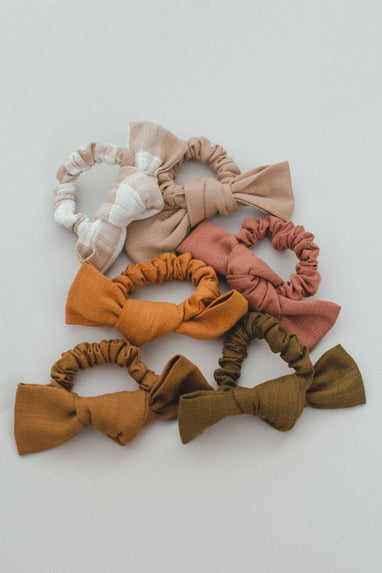 Fall Linen Bow Scrunchie