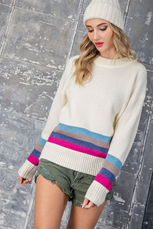Wishing To See You Striped Sweater