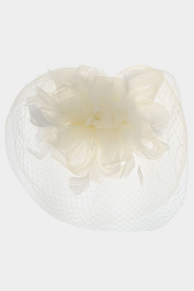 Flower Feather Mesh Fascinator / Headband