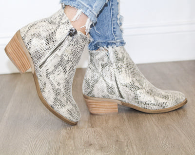 Twilight Snakeskin Bootie