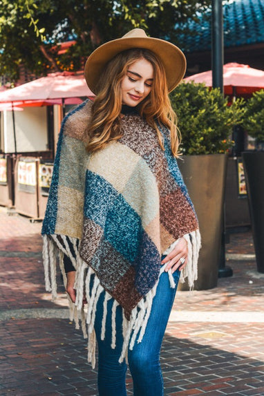 Color Block Tassel Poncho