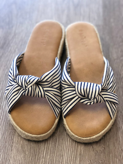 Navy Striped Slides