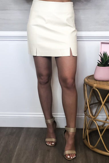 Cream Faux Leather Skirt