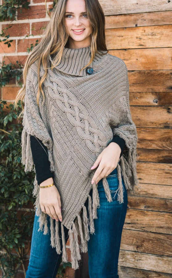 High Neck Multi Tasseled Poncho