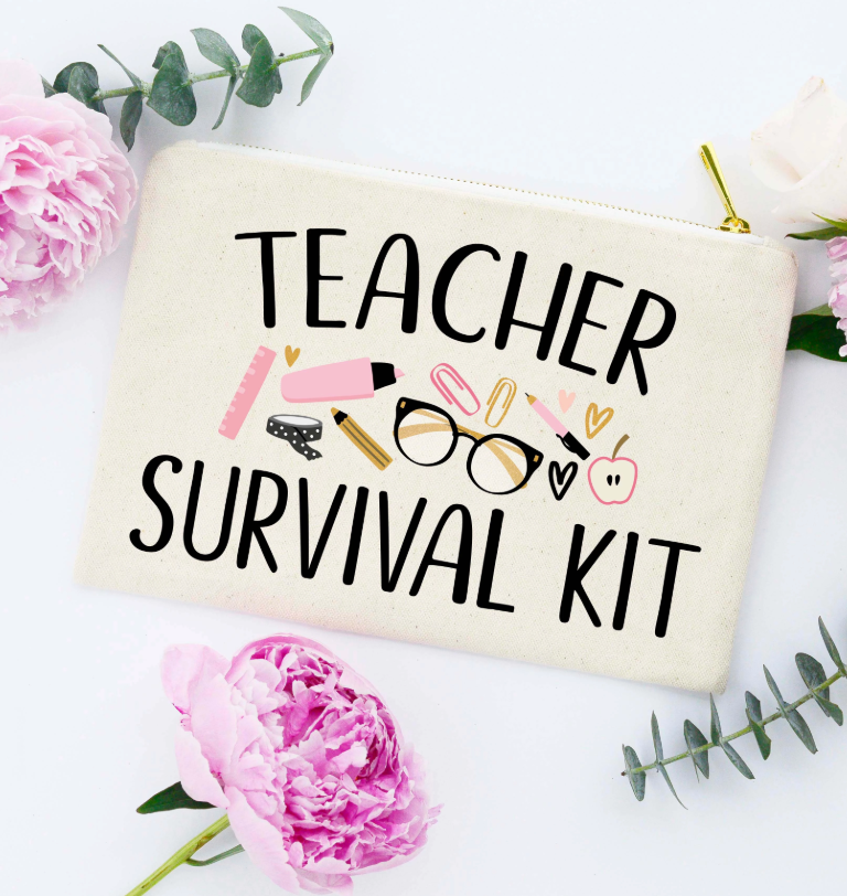 Teacher Survival Kit Makeup Bag