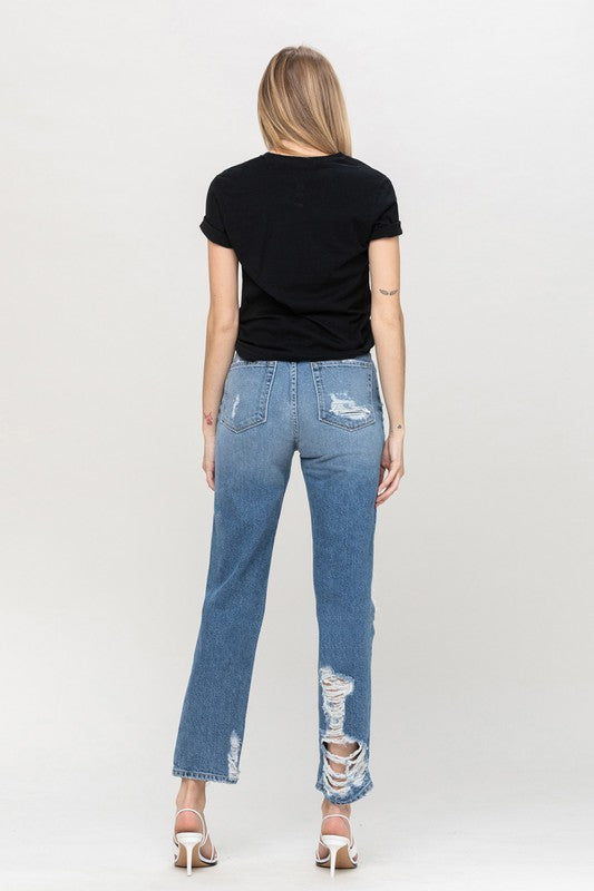 Super High Rise tattered Straight Jean