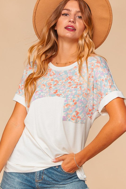 Mamie Banded Multi Color Dolman Tee