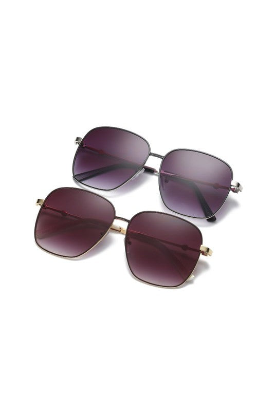 Women Metal Square Oversize Fashion Sunglasses