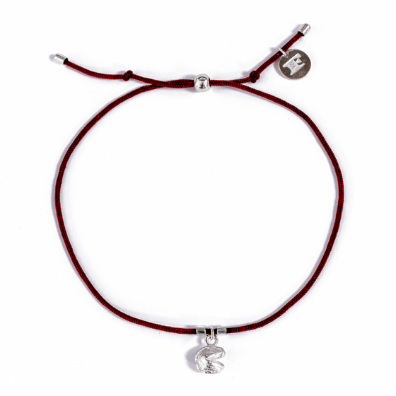 Fortune Cookie Bracelet in Burgundy/Silver