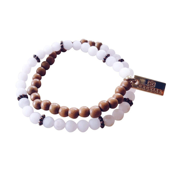 Rose Quartz Wood Bracelet