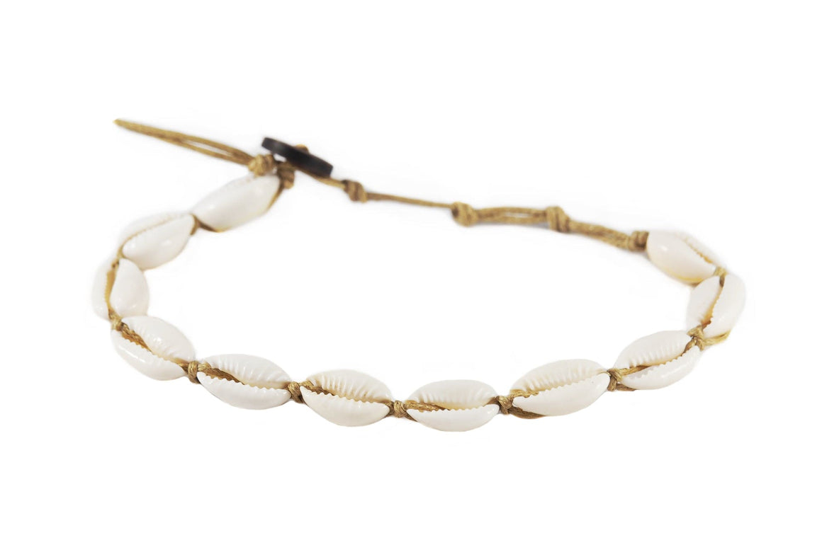 Cowry Shell Anklet in Brown