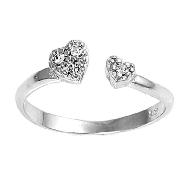 CZ Heart Toe Ring