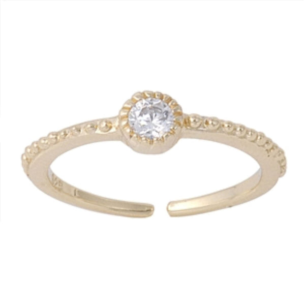 Gold Bead CZ Toe Ring