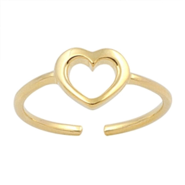 Gold Open Heart Toe Ring