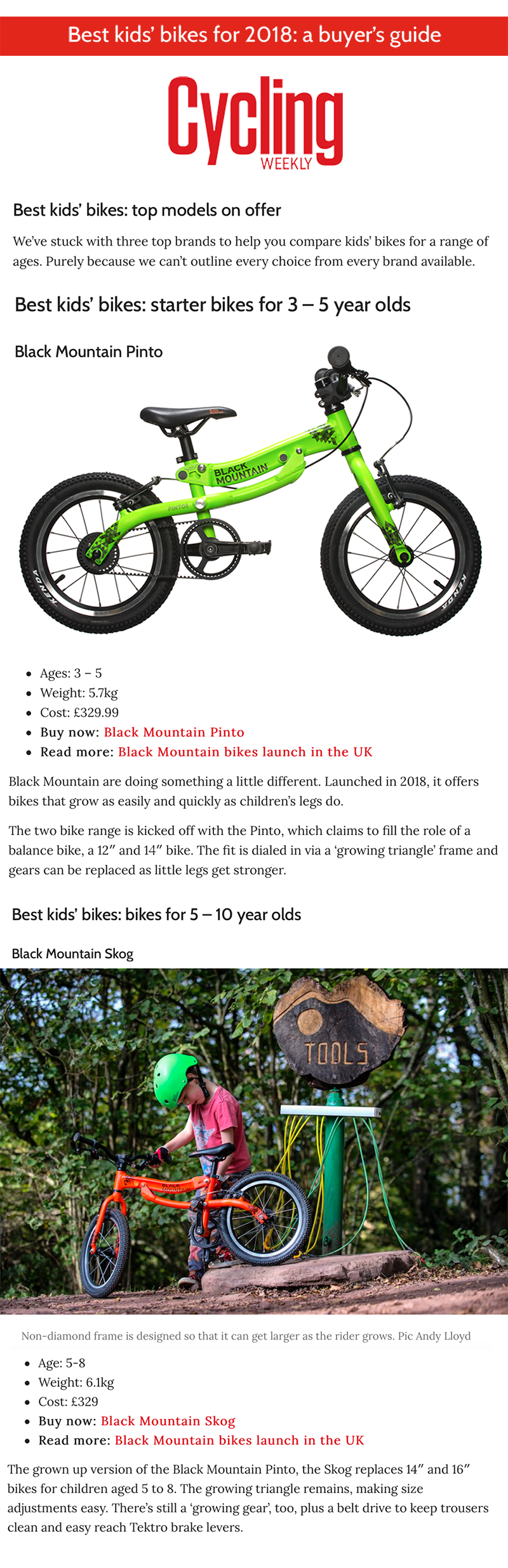 Cycling Weekly Best Kids' Bikes 2018 Black Mountain
