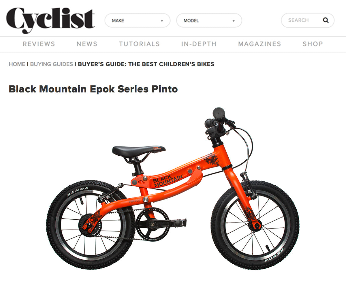 Image of the PINTO bike on Cyclist website