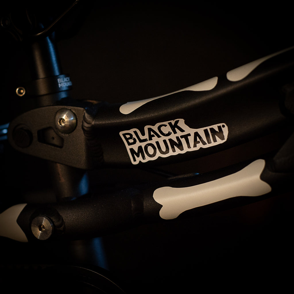 Black Mountain bikes Halloween bones