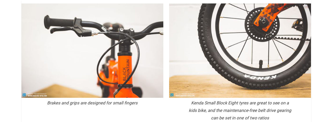 Lightweight kids bike with brakes and grips designed for small fingers