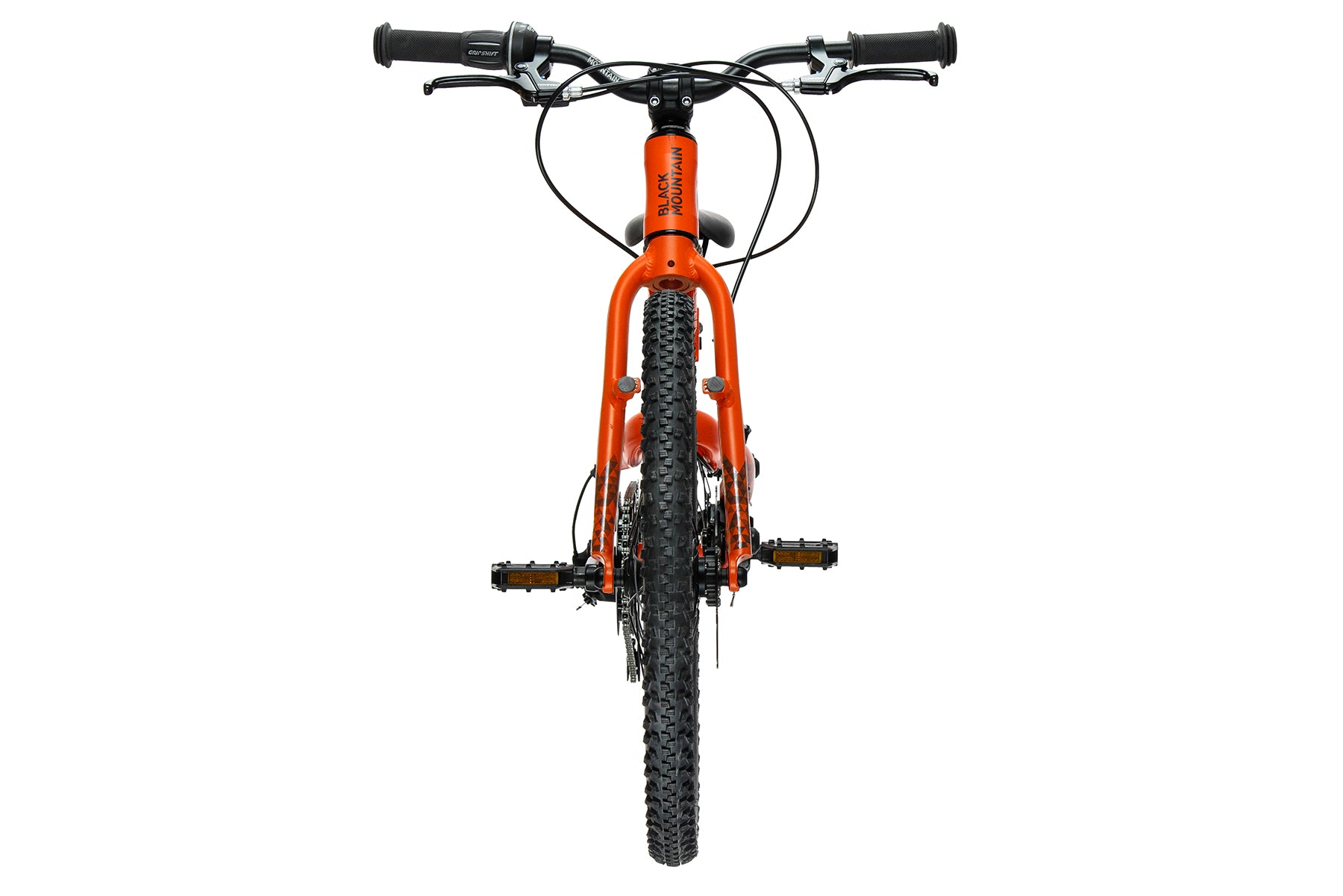Front view of kids disc brake bike