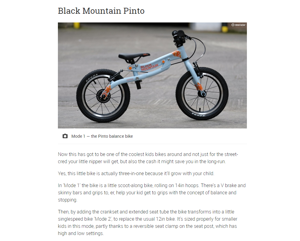 Image of Black Mountain PINTO in balance bike mode and text