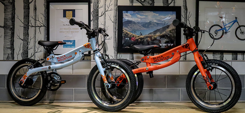 "12"", 14"" and 16"" kids bike on display"
